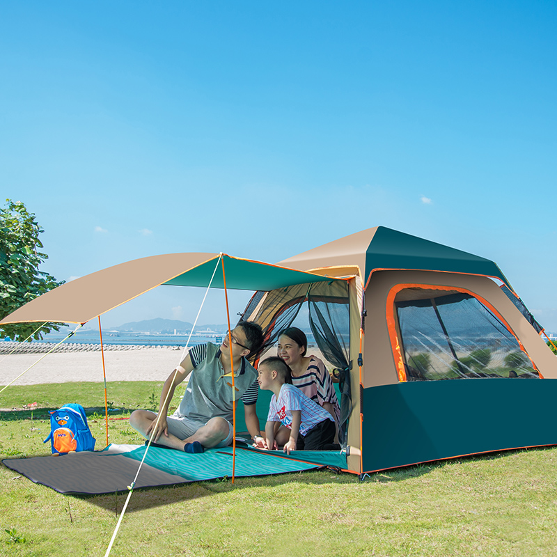 High quality double layer 3-4 person automatic waterproof outdoor beach camping tent mobi outdoor camping equipment hiking waterproof tents high quality wigwam double layer big camping tent