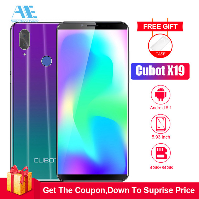 Cubot X19 5.93 Inch Android 8.1 Helio P23 Octa Core mobile phone 4000mAh 4GB RAM 64GB ROM Smartphone 16.0MP 4G LTE cell phone