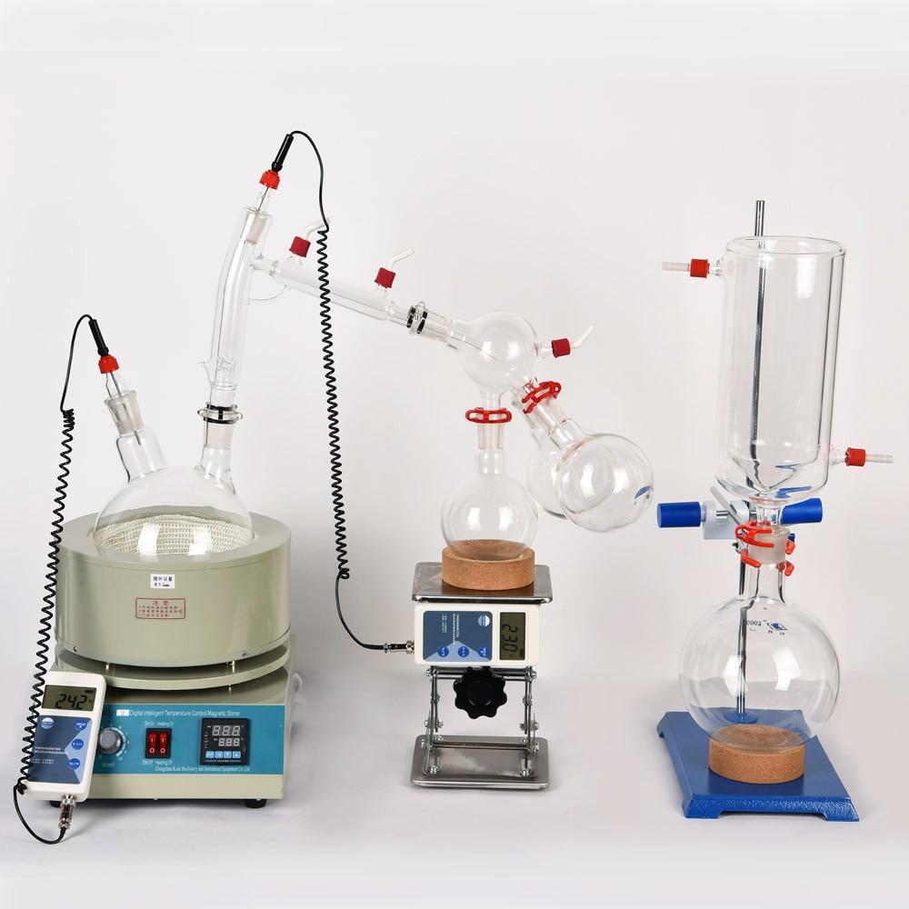 Équipement de laboratoire 5L Distillation à courte distance avec remuer le manteau chauffant comprend un piège à froid pour la Purification du chanvre végétal