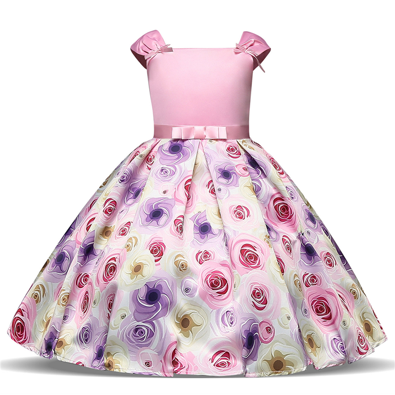 Pink Flower Christmas Girl Dress Children Clothing Princess Party Kids Formal Dresses for Girls Costume Wedding Dress 2-8 Years