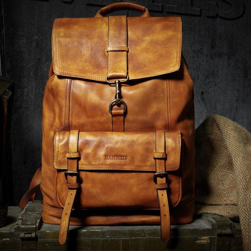 Di marca del cuoio genuino grandi zaini degli uomini di multi tasca zainetto collegio sacchetto dei bagagli di viaggio zainetto epoca fatti a mano bolsa - 2
