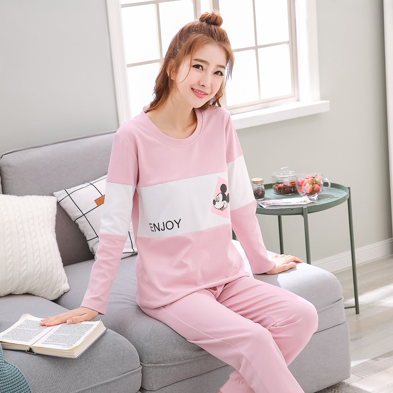 2019 Women Pajamas Sets Autumn Winter New Women Pyjamas Cotton Clothing Long Tops Set Female Pyjamas Sets NightSuit Mother Sleep 95