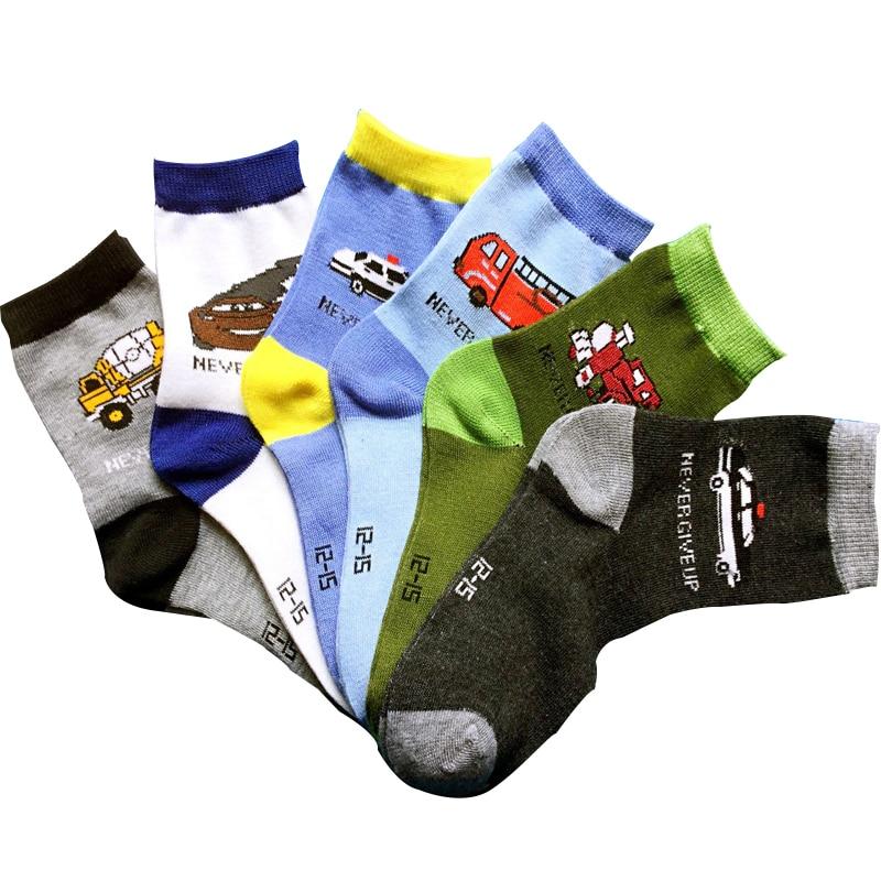 6 paris / lot children socks spring Autumn cotton cartoon car 1-11 year boys socks kids socks