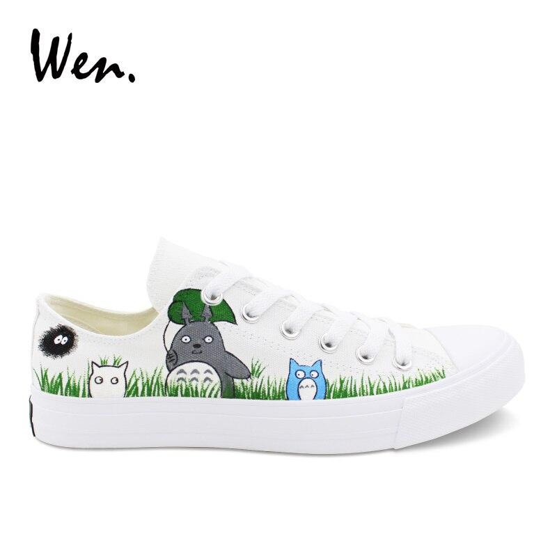 Wen Design Anime chaussures hommes décontractées peint à la main mon voisin Totoro faible aide baskets adolescents toile mocassins unisexe formateurs