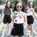 Big girl 2017 new Korean Fashion Chiffon blouse and shorts 2pcs clothes set kids summer suit child Ruffle Tank Top