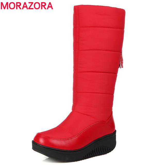 MORAZORA 2017 zapatos de plataforma de la mujer las mujeres de Gran tamaño de invierno de nieve botas de punta redonda de cuero suave de la pu caliente abajo a mediados de la pantorrilla botas