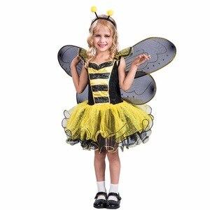 Image 2 - Elaspooky robe abeille jaune, robe à ailes, Costume dhalloween pour petites filles Love Live Cosplay, robe fantaisie de fête de noël