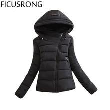 2017 New Winter Jacket Women Parkas Loose Down Cotton Female Jacket Short Oblique Zipper Hooded Women's Winter Jacket Coat IF853