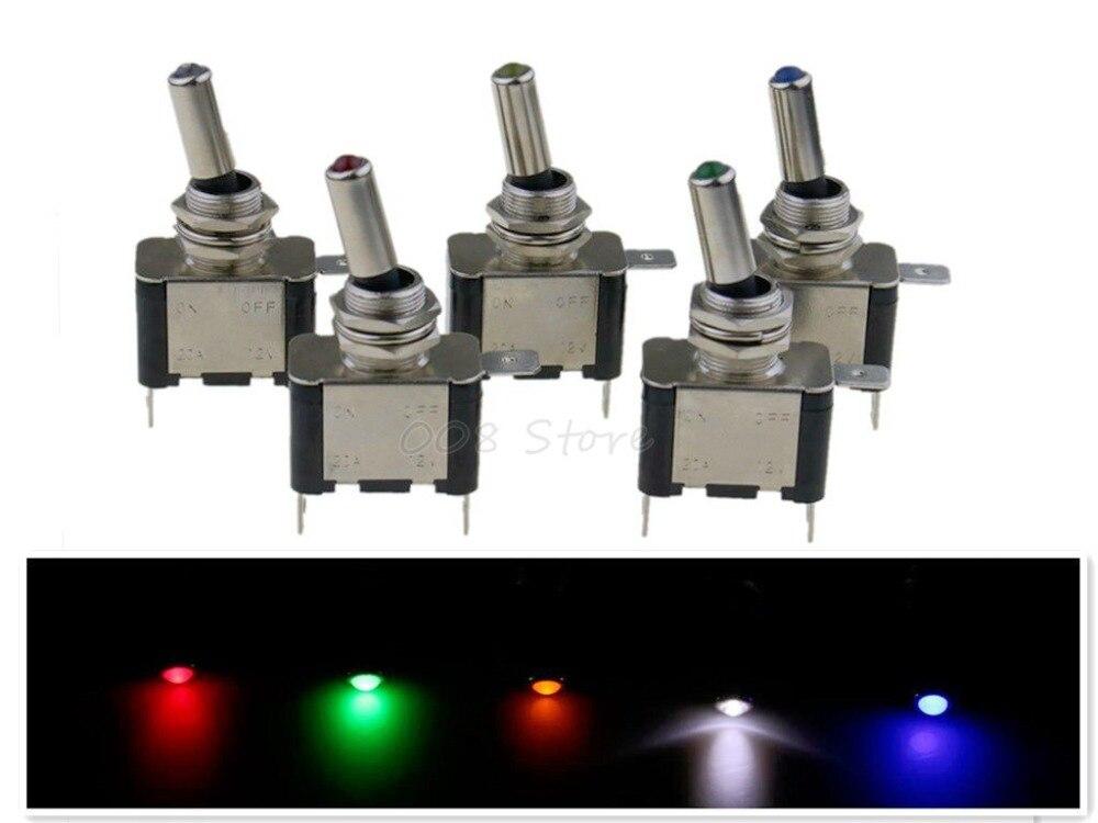 цена на 1PCS DC 12V 20A Car Auto Cover LED Light Toggle Switch Control On/Off Durable Light