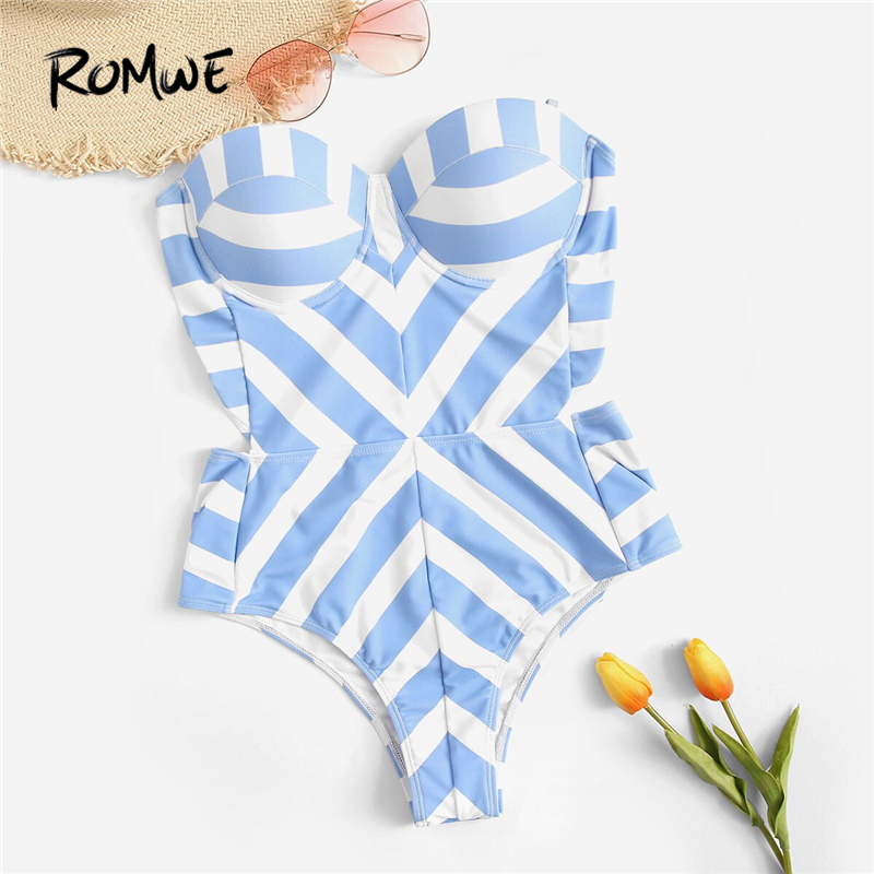 Romwe Bikini Bathing-Suit Bustier Push-Up One-Piece Striped Sport Underwire Women Bandeau