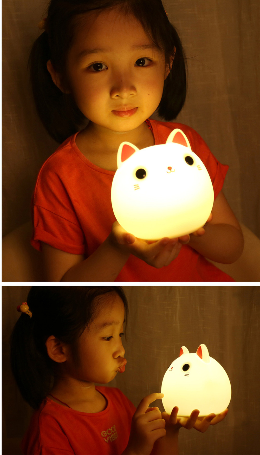 SuperNight Cute Cartoon Cat LED Night Light Silicone Rechargeable Touch Tap Kids Baby Bedroom Bedside Warm Colorful Table Lamp (1)