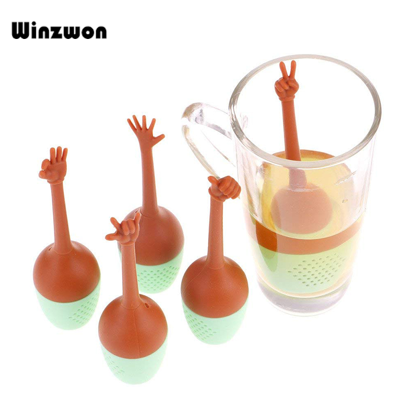 Funny Hand Gesture Shape Tea Infuser Silicone Tea Strainer Loose Leaf Herbal Spice Holder Tea Brewing Tools For Tea Cup Teapot