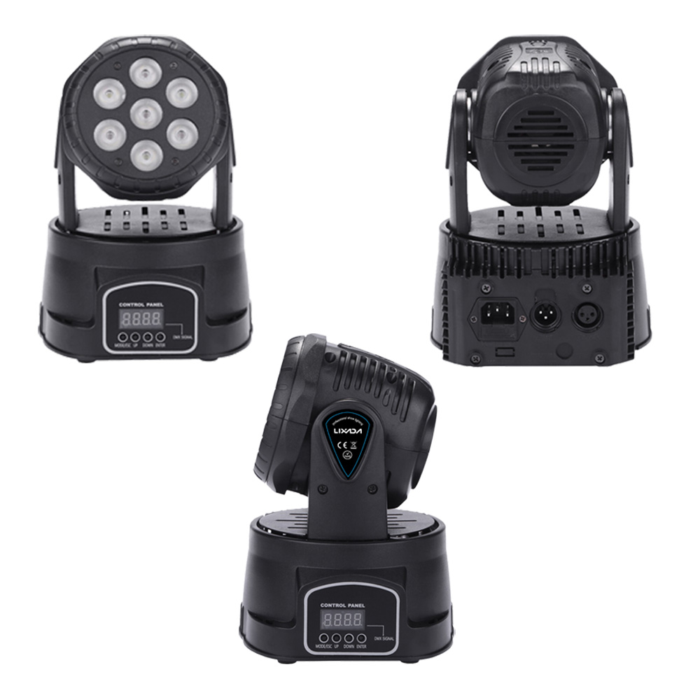 Mini Hot 7LED 105W RGBW 9 14 Channel DMX512 Rotating Head Moving Stage Light Effect Lamp