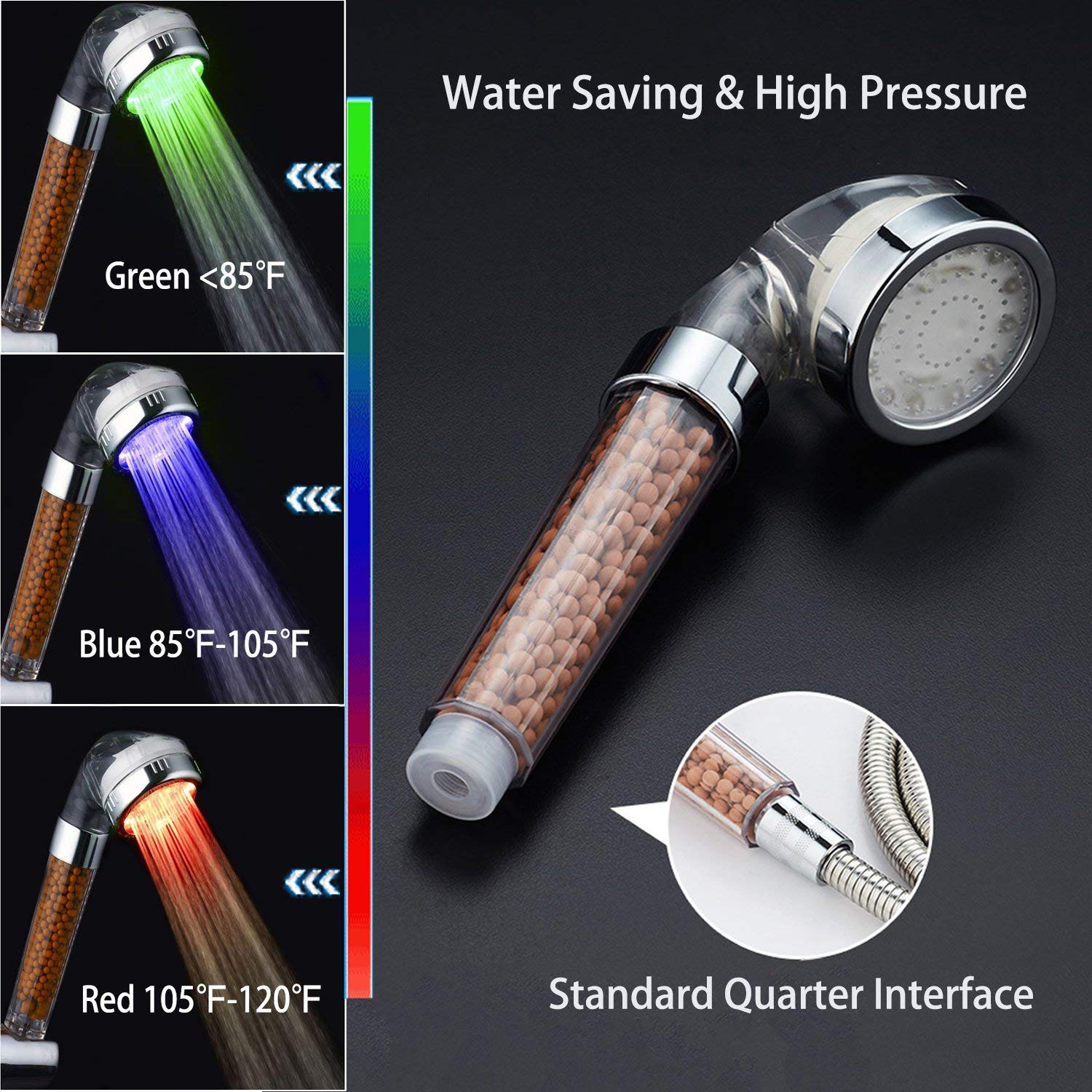 Cheen 3 Colors Water Powered Led Temperature Shower Head Filtered Showerhead Water Sprayer Handheld Bathroom Shower Head