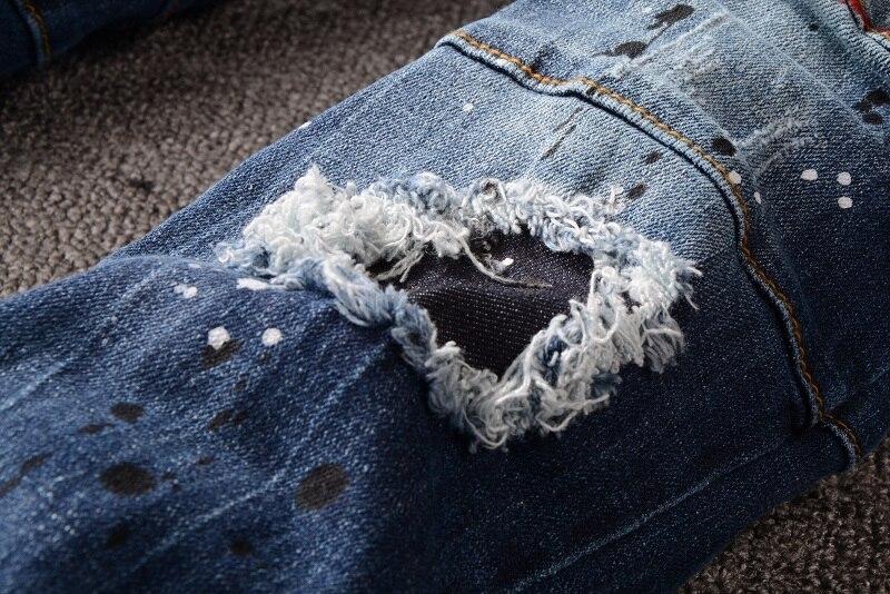 Men's Distressed Ripped Blue Biker Jeans Zip Fly 3
