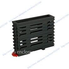 Carcasa electrónica de plástico negro, proyecto carril din, caja 94*74*26mm, carcasa terminal DIN Rial