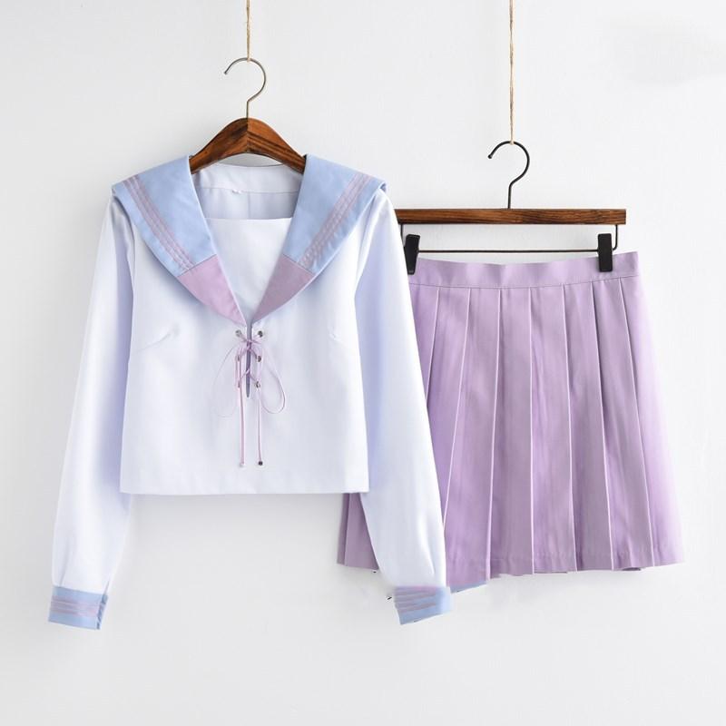 Orthodox School Jk Uniform Fragrant Purple Patchwork Sweet College Wind Long-sleeved Shirt Sailor Suit Harajuku Pleated Skirt