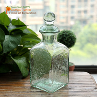 NEW Nordic style high quality simple transparent glass green storage jar,creative home decorations storage container,green vase