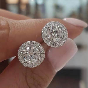 Stone Earrings Zircon Wedding-Jewelry Crystal Round Silver-Color Vintage Women Luxury