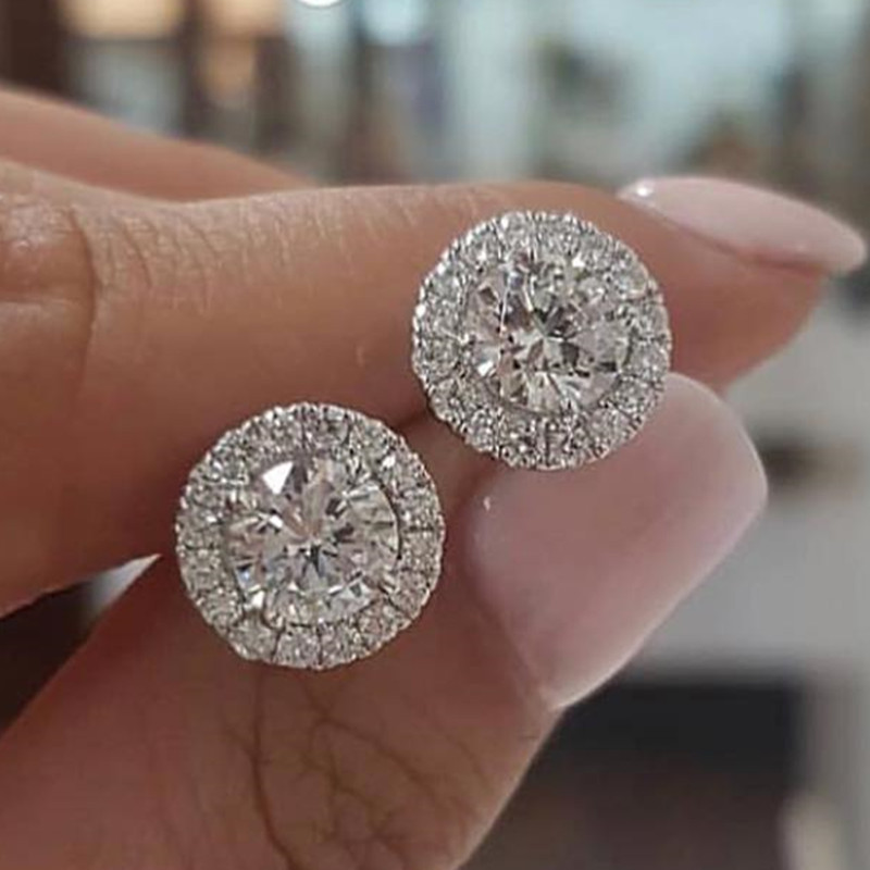 Female Luxury Crystal Round Stud Earrings Vintage 925 Sterling Silver Wedding Jewelry White Zircon Stone Earrings For Women
