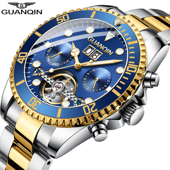 Big Dial Sport Men Watch GUANQIN Tourbillon Mechanical Watch Men Calendar Week Swimming Waterproof Multifunction Montre homme