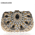 Hot 2017 Women evening clutch bags rhinestones beaded clutch bag wedding party clutches purse chain handbag