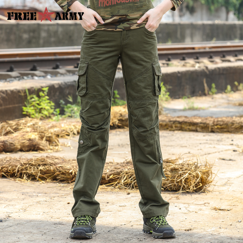 Military Green Pants Women Mid Waist Pockets Straight Outdoors Pants Winter Cotton Trousers Work Wear Pleated Zipper Freeshiping