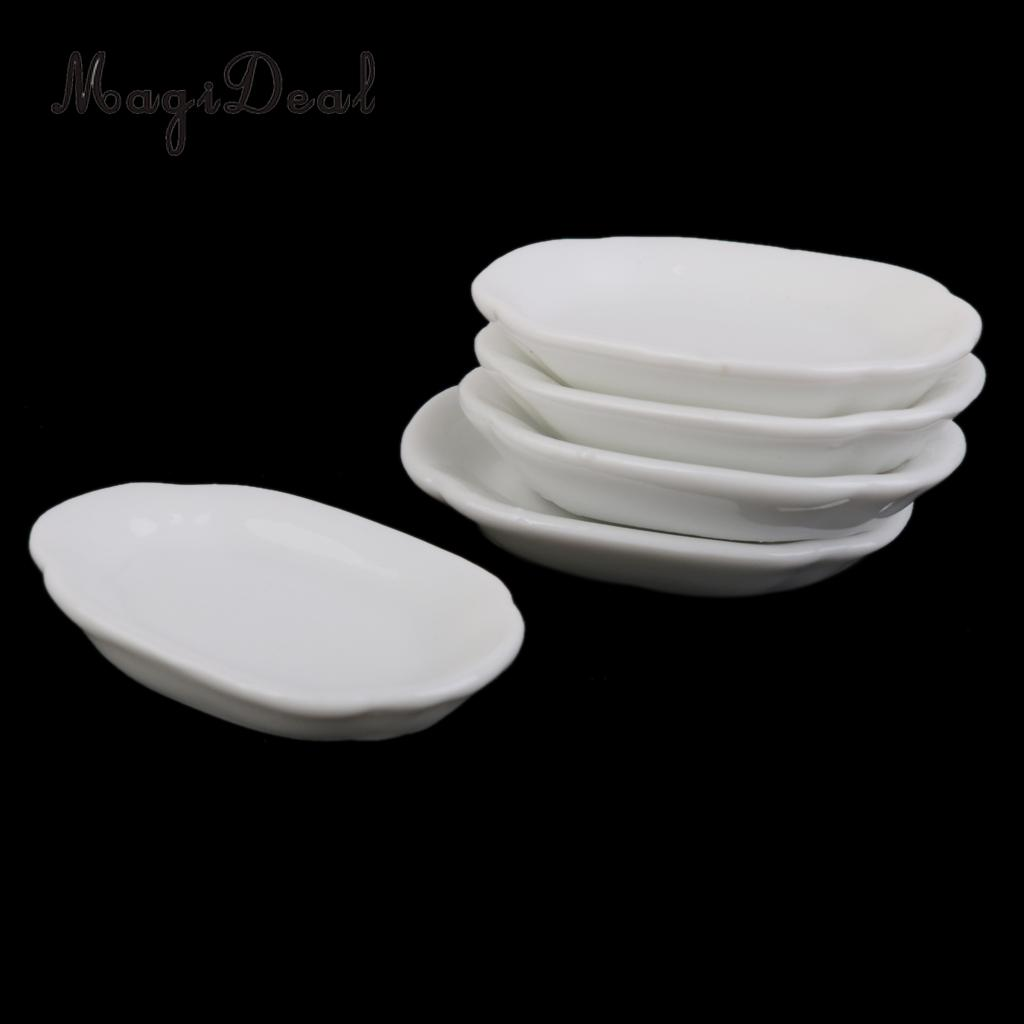 4PCS Porcelain White Plates Miniature Ceramic Tableware Kitchen 1:12 Dollhouse