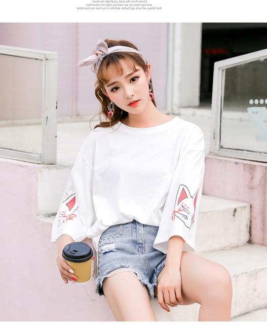 Harajuku Women T-shirt Fashion Hiphop Street Japanese Funny Cat Print Black Tops Female T Shirts Punk Funk Rock Seven Sleeve 2