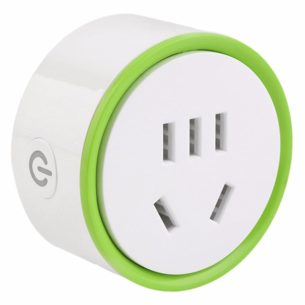 Hbud blanc Mini prise intelligente WiFi prise de contrôle à distance alimentation sécurité à domicile (couleur: blanc et vert)