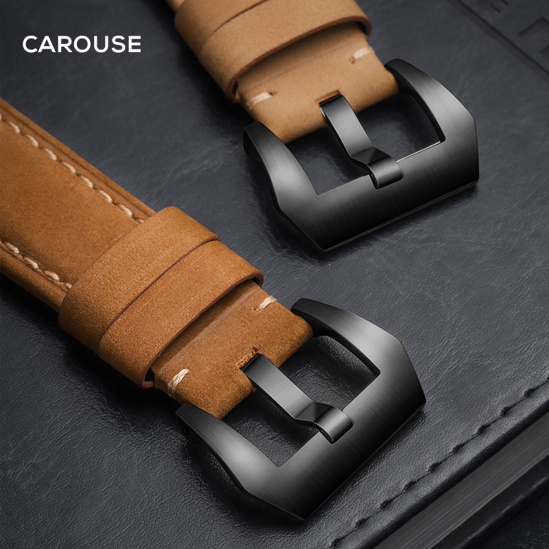 Carouse Handmade Crazy Cowhide Watchband For Apple Watch Band 42mm 38mm Series 4/3/2/1 Leather Sports Strap for iWatch 44mm 40mm