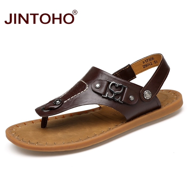 New Men's Genuine Leather Sandals Slippers Casual Sandal Flip Flop Shoes New