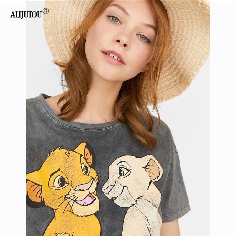 The Lion King Cartoon Print Short Sleeve T Shirt Women Two lions Fashion Casual Black Crew Neck Tshirt Femme Graphic Tee Clothes