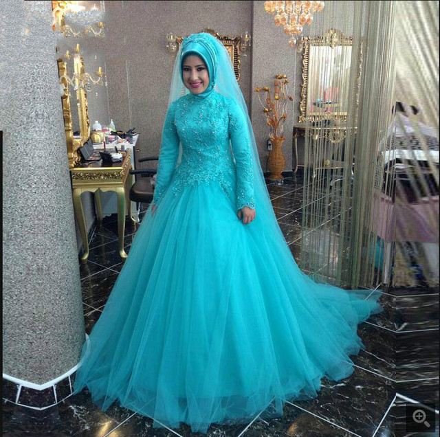 New designer mint green ball gown high neck prom dress muslim modest ...