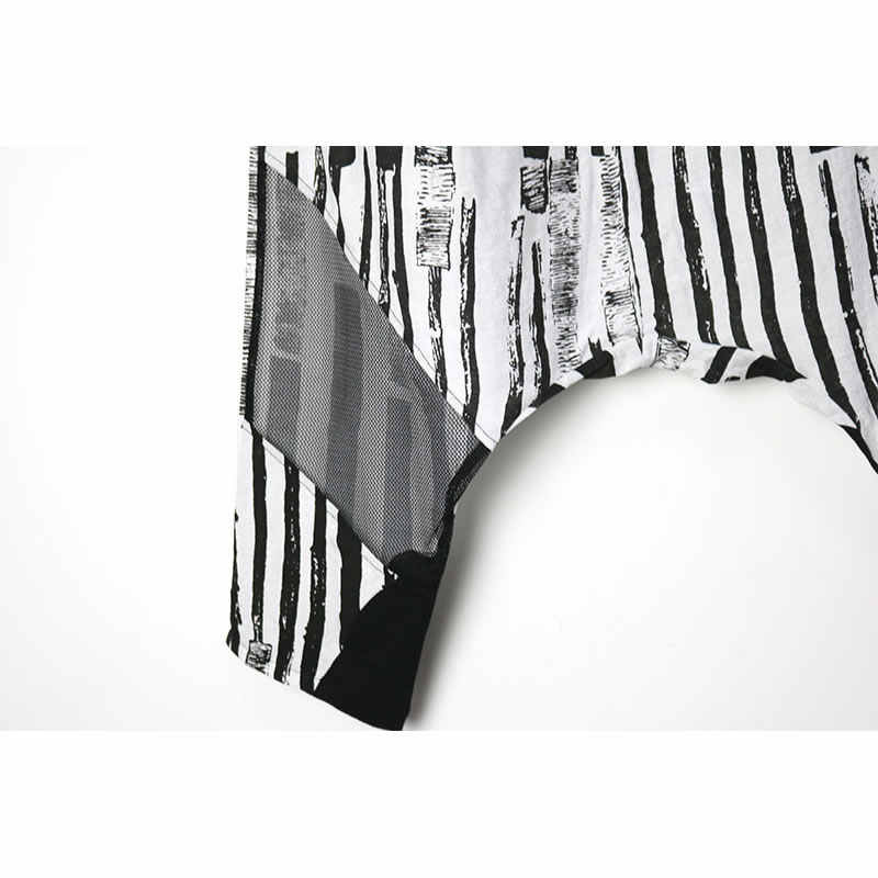 XITAO полосатые свободные брюки женские с эластичной талией дикие Джокер Тонкий карман пэчворк большой код уличная карточка шаровары новый ZLL3564