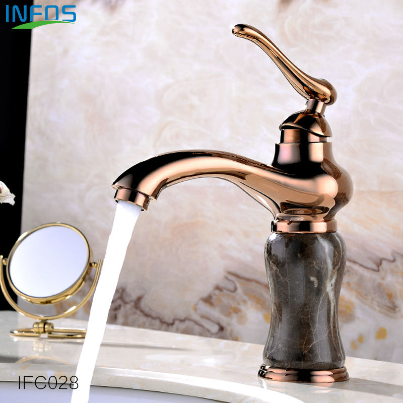 INFOS Antique Golden Brass Copper Bathroom Basin Mixer Tap Sink Faucet Deck Mounted Hot and Cold Water Single Handle IFC026 flg bathroom faucet antique brass all copper double handle 360 degree rotating deck mounted cold hot sink mixer water tap 10703