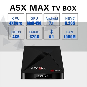 A5X MAX Android 7.1 4GB RAM 32GB ROM TV BOX RK3328 4K BT 4.1 USB 3.0 2.4G WiFi 100M Lan Smart Media Player HD2.0 OTT TV BOX