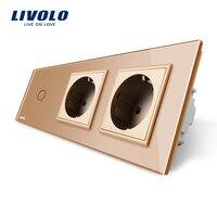 Livolo New Power Socket EU Standard CE Certificates Golden Crystal Glass Outlet Panel 2Gang Wall Sockets