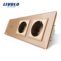 Livolo New Power Socket EU Standard CE Certificates Golden Crystal Glass Outlet Panel 2Gang Wall Sockets
