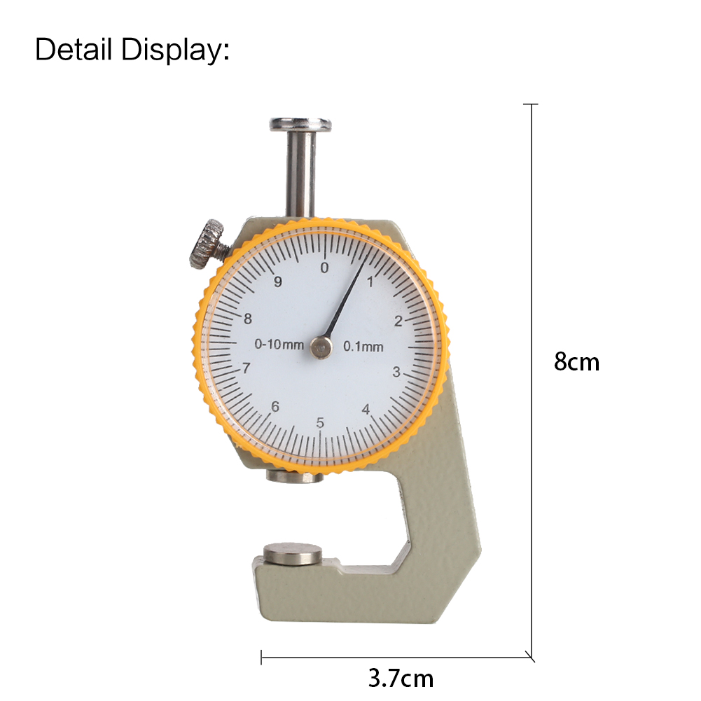 Silver Yellow Metal Leather Thickness Meter Width Measurement Thickness Gauge Durable Dial Tester Micrometer