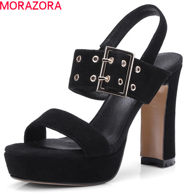 MORAZORA 2019 top quality suede leather gladiator sandals women buckle summer shoes high heels platform shoes