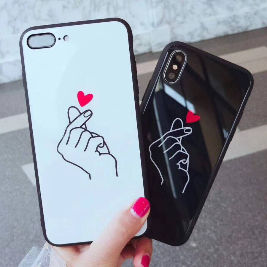 For iphone X Case Finger Love Heart Glass Phone Case For