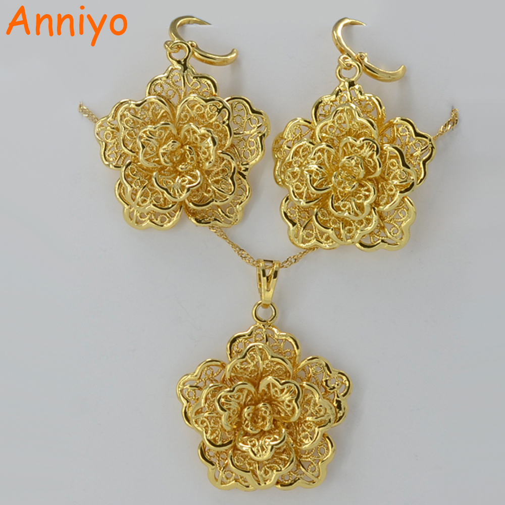 Anniyo Flower Pendant Necklace Earrings Set Jewelry Gold