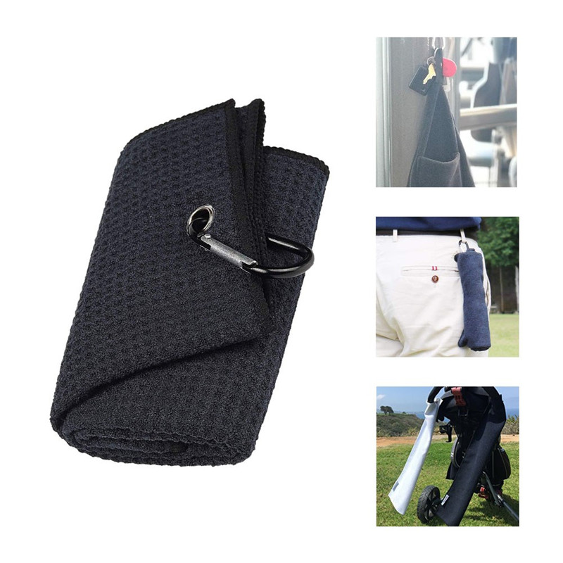 New Black 32*40cm  Cotton Golf Towel Cleaning Sport Towel Comfort Washcloth Golf Towels With Bag Hook Golf Training Aids