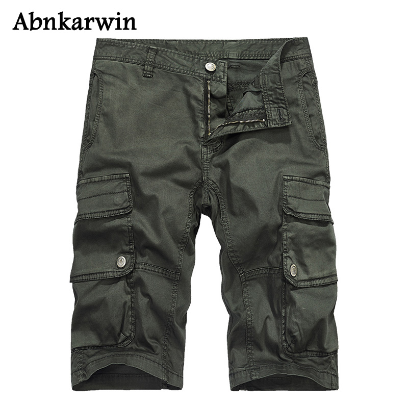 Abnkarwin Cargo Shorts Men Military Multi-Pocket Cotton Loose Tactical Short Pants Quality Clothing Top
