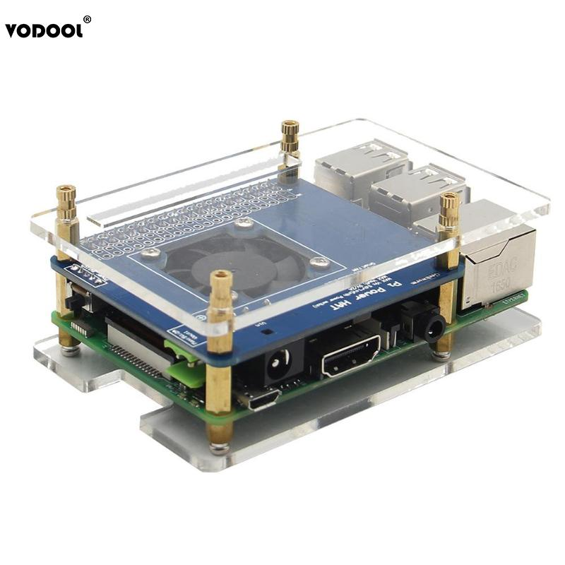 VODOOL Computer PC Cooling Cooler Fan Power Expansion Board Acrylic Case Heat Sink Kit DIY Assembly Set For Raspberry Pi 3 2B B+ 1 set copper aluminium heatsink fan cooling down kit for raspberry pi 30x10mm