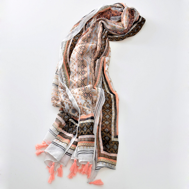 2016  New Design Korea Muslim Hijab Bandana Geometric Bohemia Ethnic Cotton Voile Scarf For Women Long Shawl Tassel Wrap