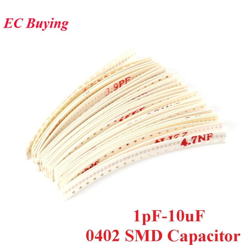 1200 шт., набор конденсаторов 0402 SMD, 30 значений * 40 шт., 1 пф-10 мкФ, магнитный конденсатор, ассорти образцов комплекта для самостоятельной сборки
