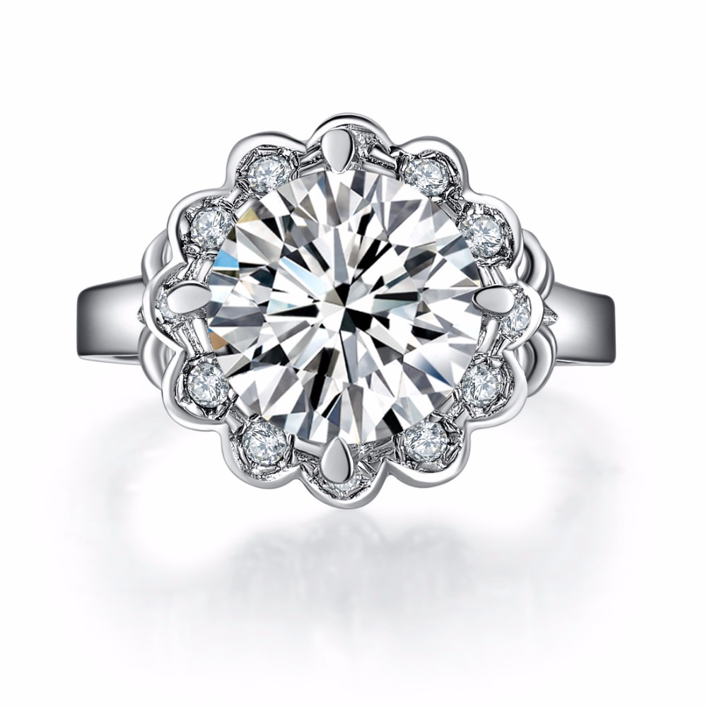 14kt sunflower new style unique 4ct classic jewelry solid white gold quality synthetic gem engagement ring for women wedding - Unique Wedding Rings For Women