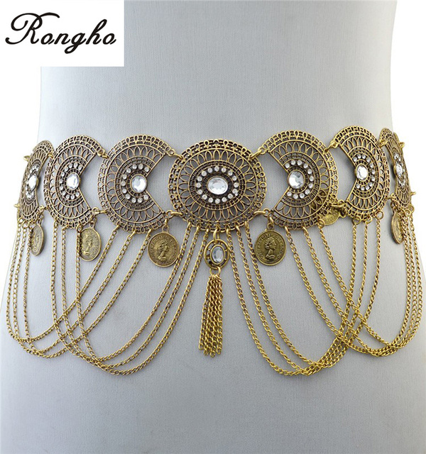 New bohemian Vintage Metal hollow carving belly chains for women